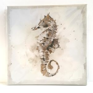 Coastal Ocean Seahorse Gold Metallic Chic Wall Art